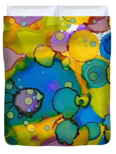 Duvet Cover featuring the painting Abstract Microscope Party by Nikki Marie Smith