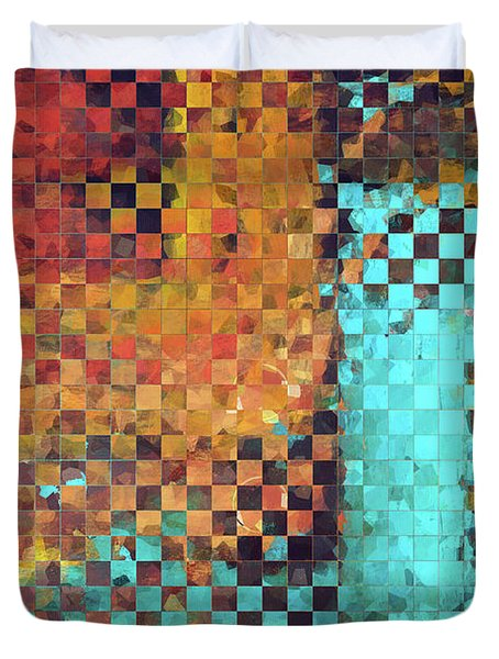 Abstract Modern Art - Pieces 1 - Sharon Cummings Duvet Cover by Sharon Cummings
