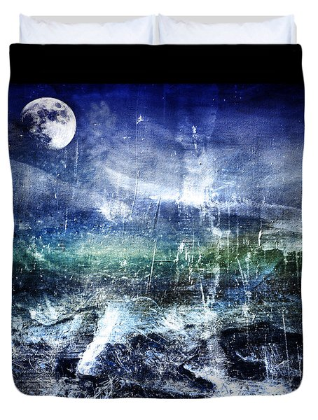Abstract Moonlit Seascape Painting 36a Duvet Cover