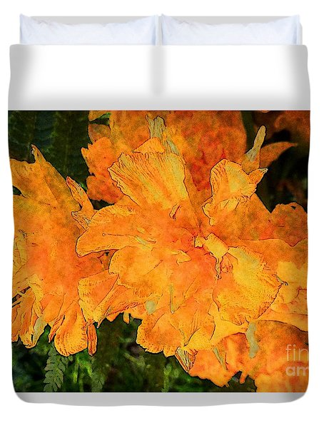 Abstract Motif By Yellow Daffodils Duvet Cover by Jean Bernard Roussilhe