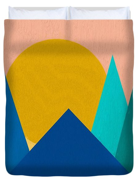 Abstract Mountain Sunset Duvet Cover