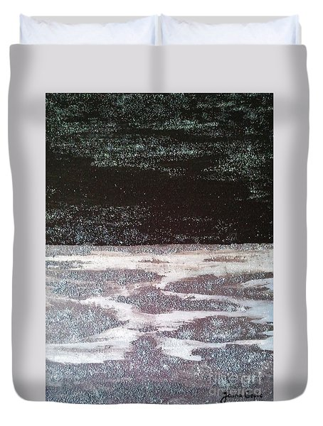 Duvet Cover featuring the painting Abstract Nail Polish Jg7 by Jasna Gopic