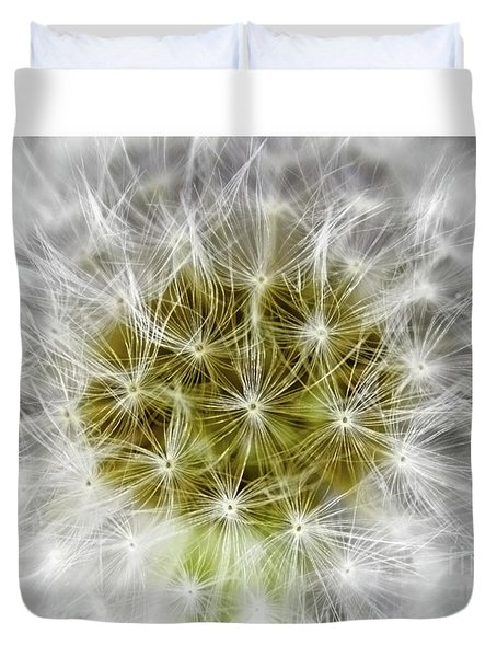 Abstract Nature Dandelion Floral Maro White And Yellow A1 Duvet Cover