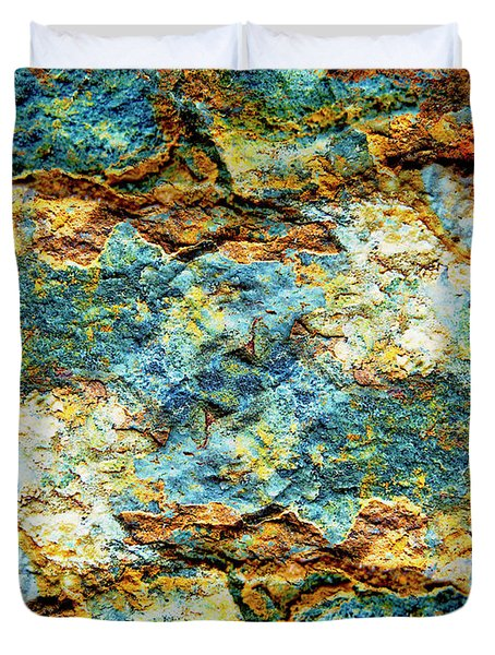 Abstract Nature Tropical Beach Rock Blue Yellow And Orange Macro Photo 472 Duvet Cover