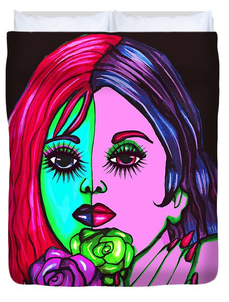 Abstract Neon Rose Fairy Duvet Cover