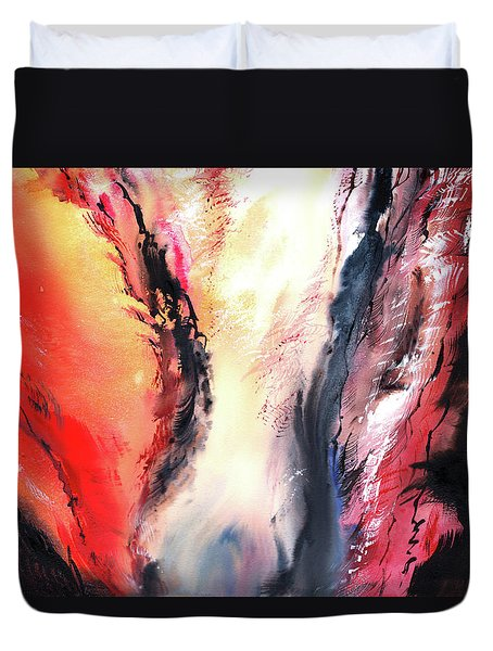 Duvet Cover featuring the painting Abstract New by Anil Nene