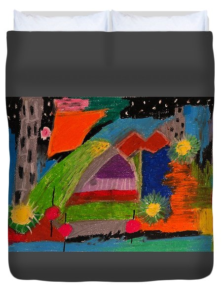 Abstract No. 7 Inner Landscape Duvet Cover by Maria  Disley