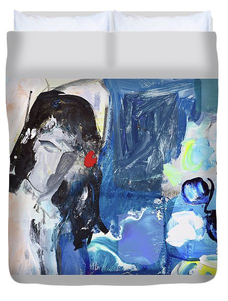 Abstract Nude And Flowers Duvet Cover by Amara Dacer