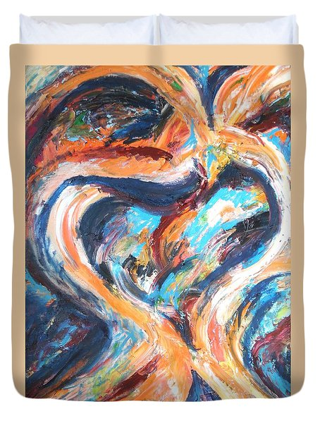 Abstract Of Womb Duvet Cover by Esther Newman-Cohen