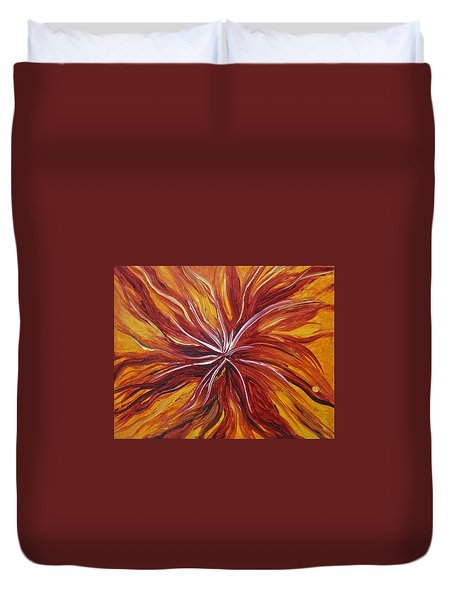 Abstract Orange Flower Duvet Cover