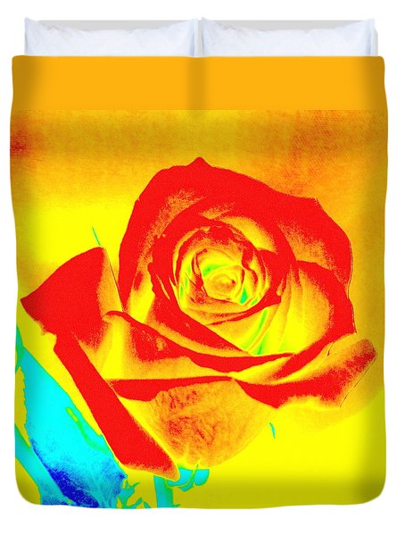 Single Orange Rose Abstract Duvet Cover
