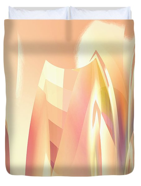 Duvet Cover featuring the digital art Abstract Orange Yellow by Robert G Kernodle
