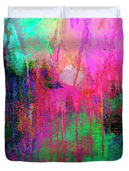 Abstract Painting 621 Pink Green Orange Blue Duvet Cover