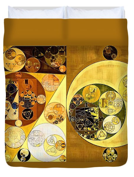 Duvet Cover featuring the digital art Abstract Painting - Golden Brown by Vitaliy Gladkiy