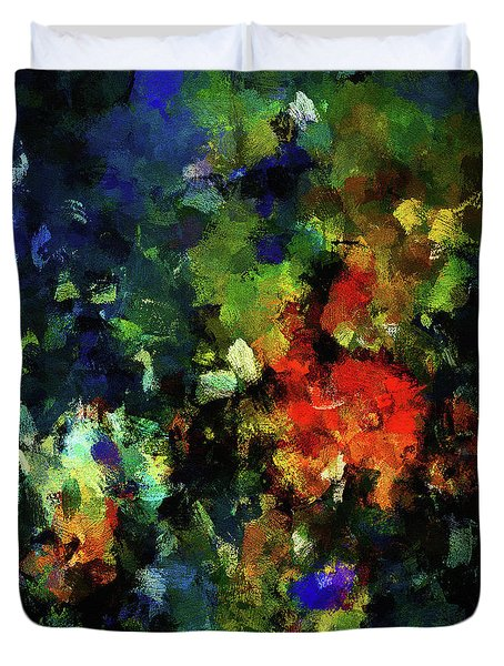Duvet Cover featuring the painting Abstract Painting In Dark Blue Tones by Ayse Deniz