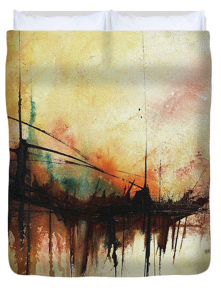 Duvet Cover featuring the painting Abstract Painting Contemporary Art by Patricia Lintner