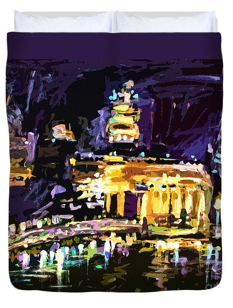 Duvet Cover featuring the painting Abstract Paris Night Reflections by Ginette Callaway