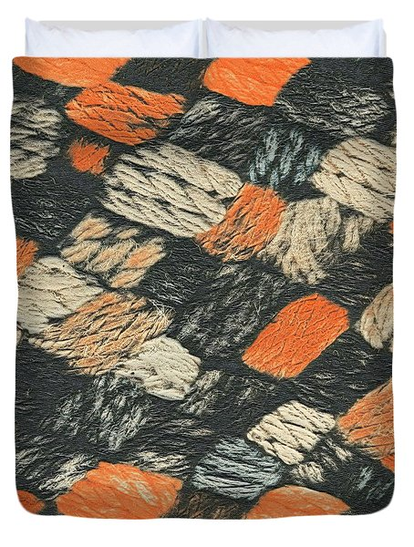 Abstract Pattern Black And Orange Duvet Cover