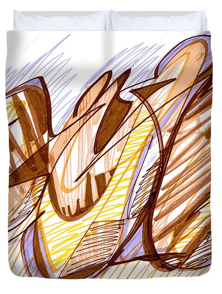 Abstract Pen Drawing Nine Duvet Cover