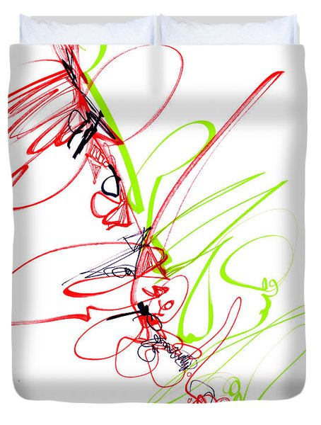 Abstract Pen Drawing Seventy Duvet Cover by Lynne Taetzsch
