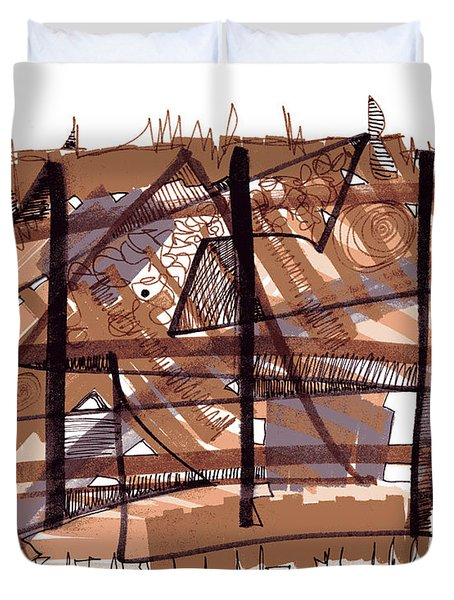Abstract Pen Drawing Twelve Duvet Cover
