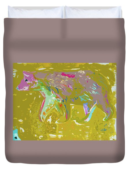 Abstract Purple Bear Duvet Cover