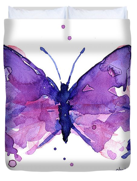 Abstract Purple Butterfly Watercolor Duvet Cover