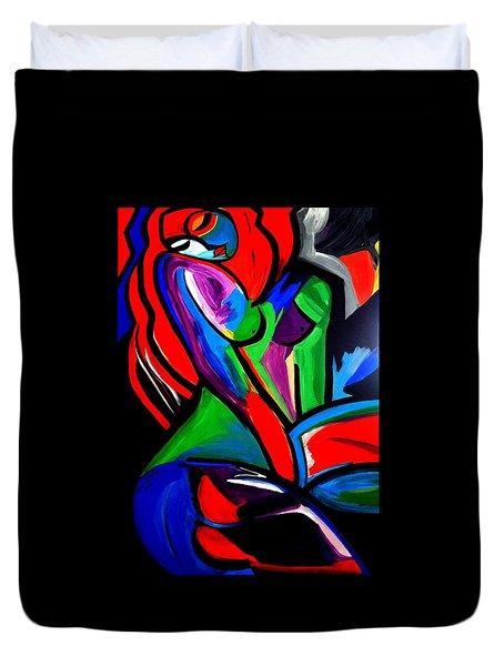 Abstract  Rain Bow Girl Duvet Cover by Nora Shepley