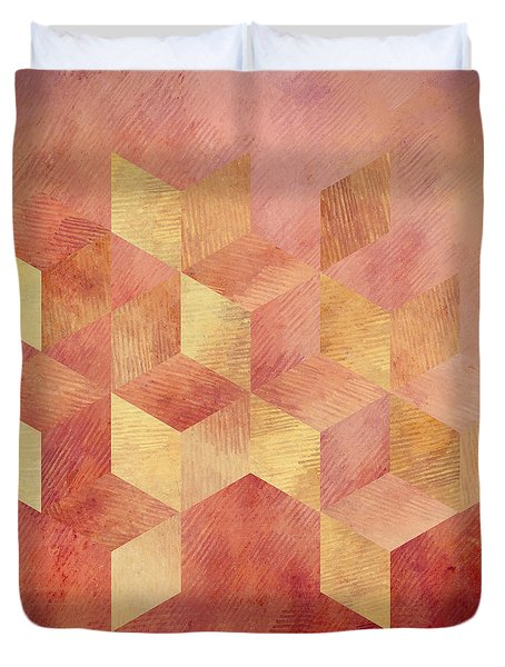Abstract Red And Gold Geometric Cubes Duvet Cover