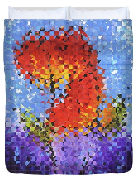 Duvet Cover featuring the painting Abstract Red Flowers - Pieces 5 - Sharon Cummings by Sharon Cummings