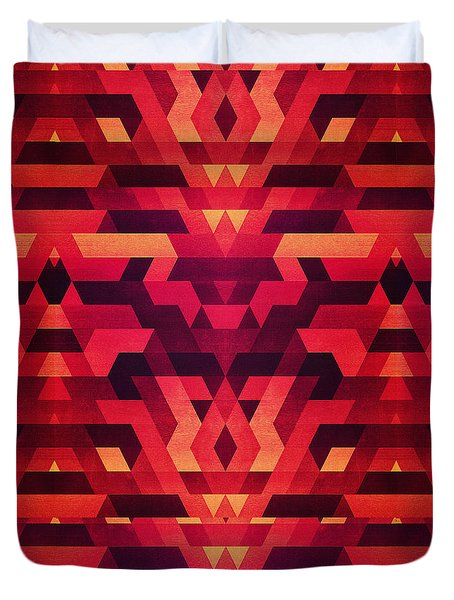 Abstract Red Geometric Triangle Texture Pattern Design Digital Futrure  Hipster  Fashion Duvet Cover