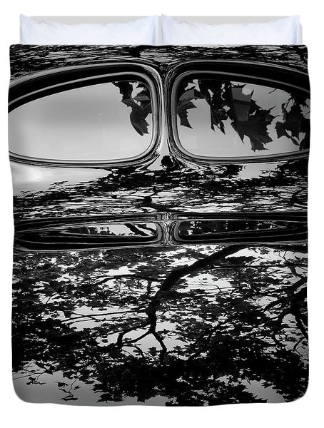 Abstract Reflection Bw Sq II - Vehicle Duvet Cover