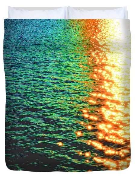 Abstract Reflections Digital Painting #5 - Delaware River Series Duvet Cover