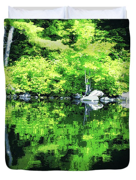 Abstract Reflections On Gorham Pond Duvet Cover by Susan Lafleur