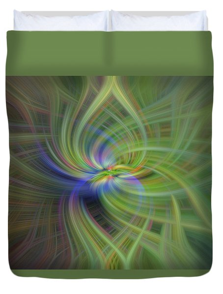 Abstract Robin Eating Crabapples Duvet Cover