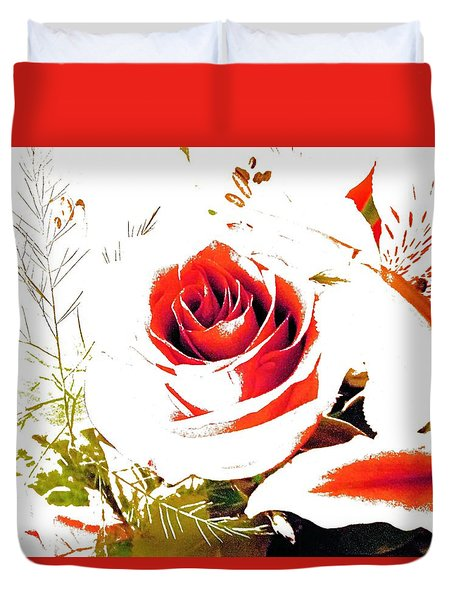 Abstract Rose With Cardinal Duvet Cover