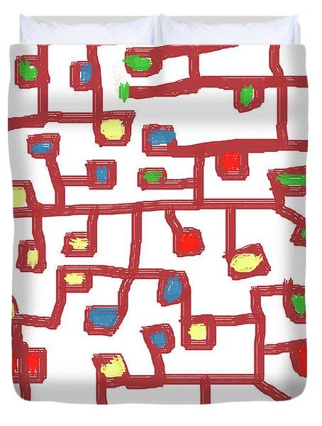 Abstract Scattered Nodes Duvet Cover by Keshava Shukla