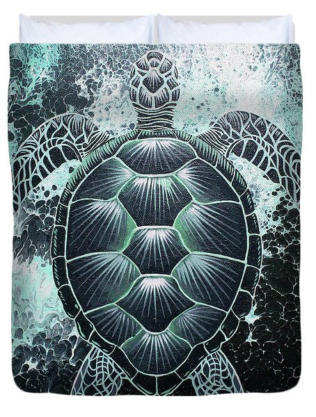 Abstract Sea Turtle Duvet Cover