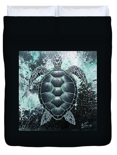 Duvet Cover featuring the painting Abstract Sea Turtle by William Love