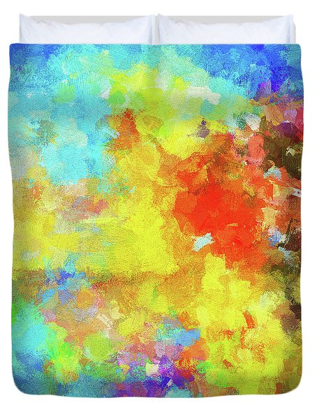 Duvet Cover featuring the painting Abstract Seascape Painting With Vivid Colors by Ayse Deniz