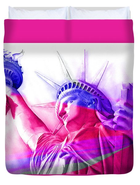Duvet Cover featuring the painting Abstract Statue Of Liberty 7 by J- J- Espinoza
