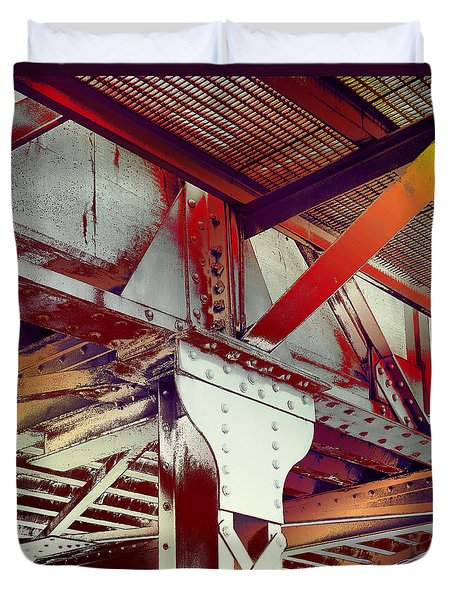 Duvet Cover featuring the photograph Grunge Steel Beam by Robert G Kernodle