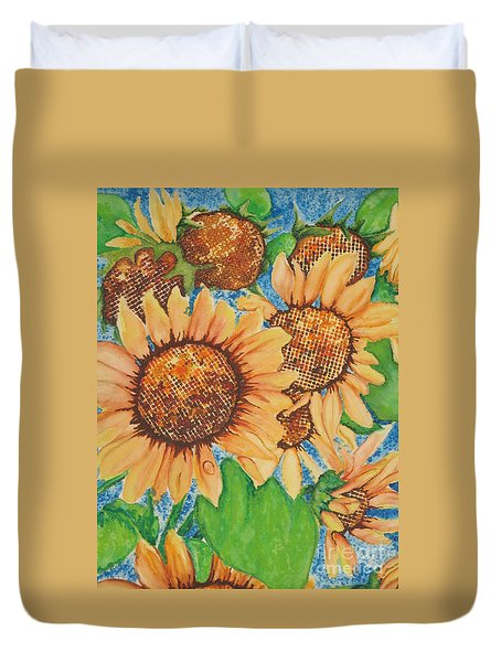 Duvet Cover featuring the painting Abstract Sunflowers by Chrisann Ellis