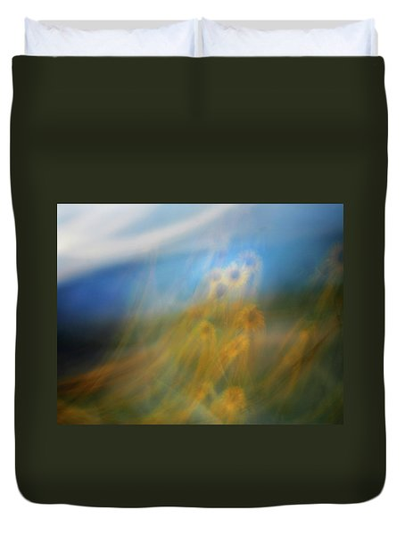 Duvet Cover featuring the photograph Abstract Sunflowers by Marilyn Hunt