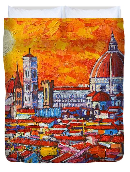 Abstract Sunset Over Duomo In Florence Italy Duvet Cover by Ana Maria Edulescu
