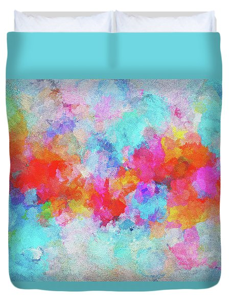 Duvet Cover featuring the painting Abstract Sunset Painting With Colorful Clouds Over The Ocean by Ayse Deniz