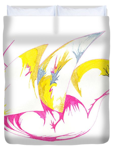 Duvet Cover featuring the drawing Abstract Swan by Mary Mikawoz