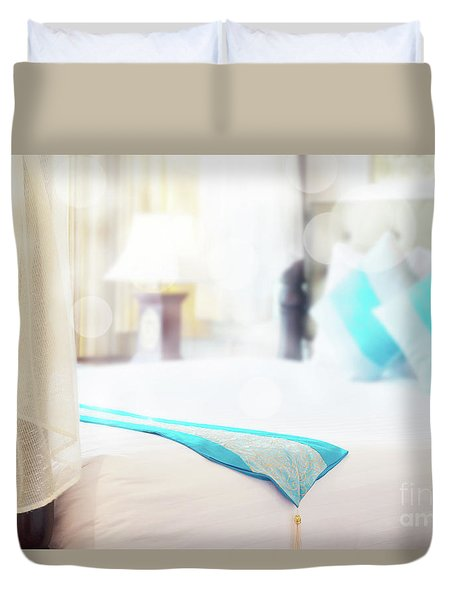 Duvet Cover featuring the photograph Abstract Thai Style Bedroom by Atiketta Sangasaeng