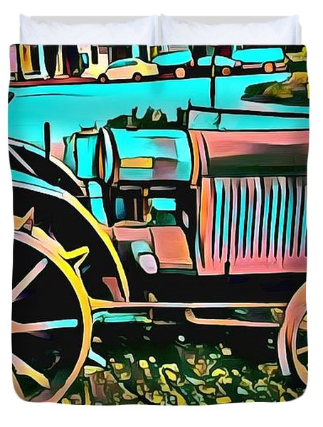 Duvet Cover featuring the digital art Abstract Tractor Los Olivos California by Floyd Snyder