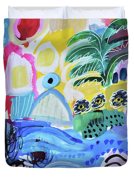 Abstract Tropical Landscape Duvet Cover by Amara Dacer